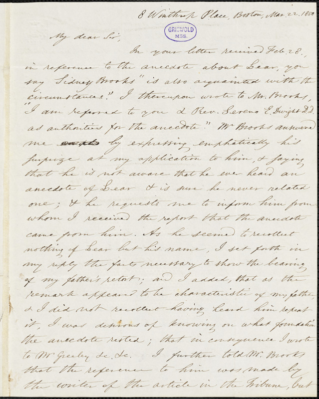 Octavius Pickering, Boston, MA., autograph letter signed to R. W. Griswold, 22 March 1850