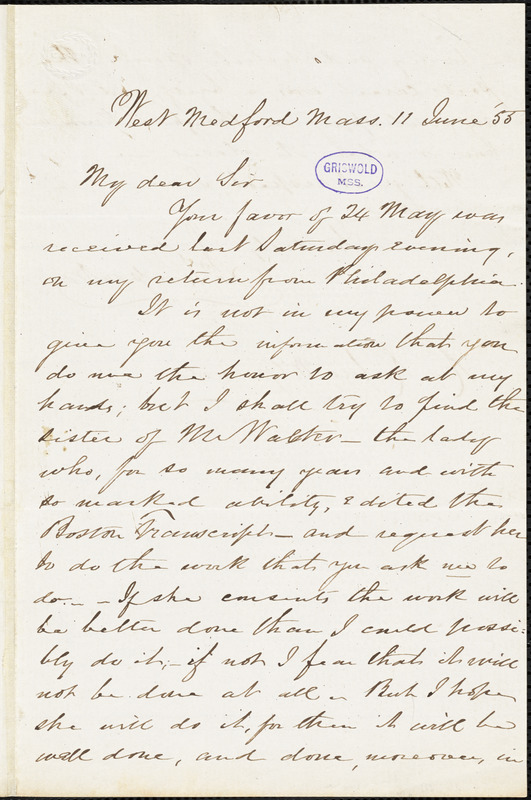 John Pierpont, West Medford, MA., autograph letter signed to R. W. Griswold, 11 June 1855