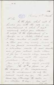 Edgar Allan Poe letter signed to John P. Kennedy, 15 March [1835]