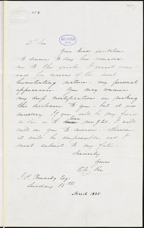 Edgar Allan Poe letter signed to John P. Kennedy, 15 March 1835