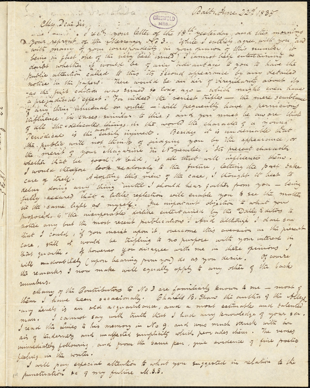Edgar Allan Poe, Baltimore, MD., autograph letter signed to Thomas W. White, 22 June 1835