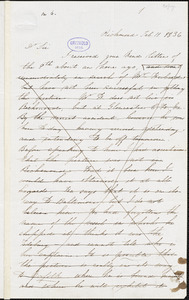 Edgar Allan Poe, Richmond, VA., letter signed to John P. Kennedy, 11 February 1836