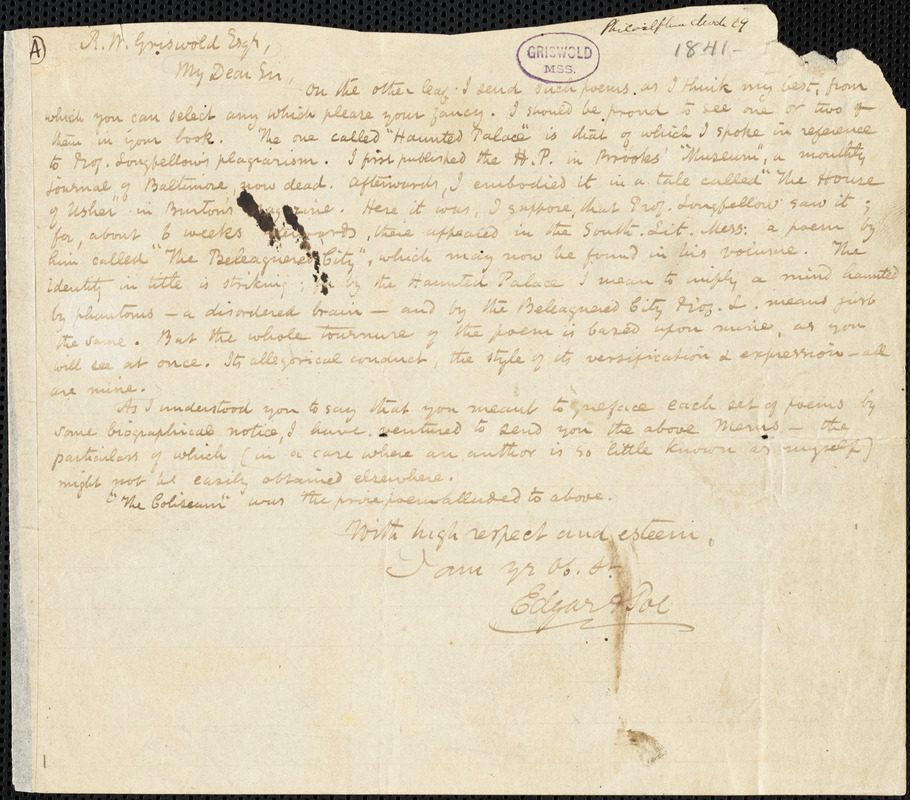 Edgar Allan Poe, Philadelphia, PA., autograph letter signed to R. W. Griswold, 29 May 1841