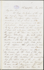 Edgar Allan Poe, Philadelphia, PA., letter signed to John P. Kennedy, June 1841