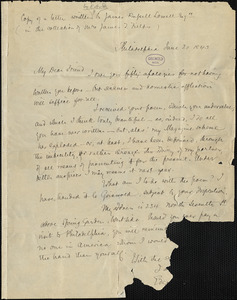 Edgar Allan Poe, Philadelphia, PA., letter signed to James Russell Lowell, 20 June 1843