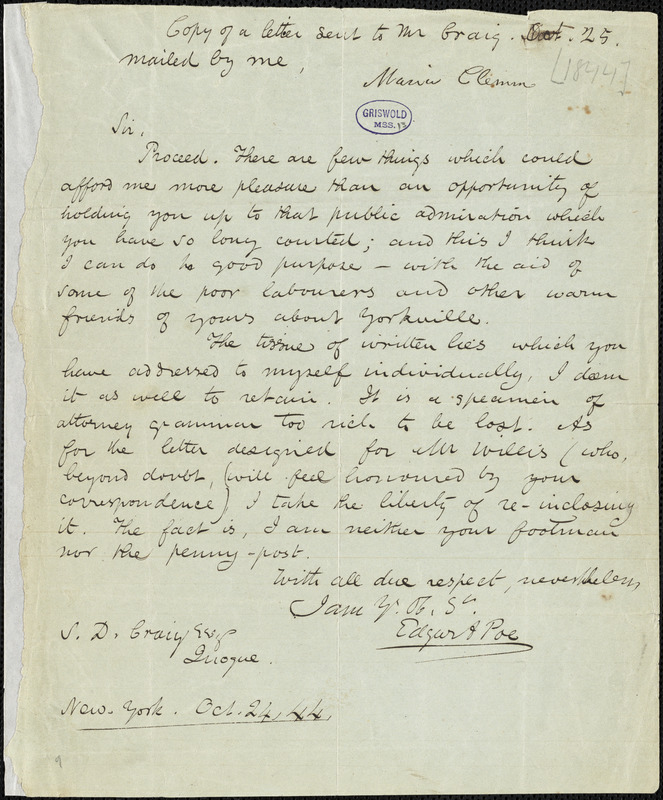 Edgar Allan Poe, New York, letter signed to Samuel D. Craig, 24 October 1844