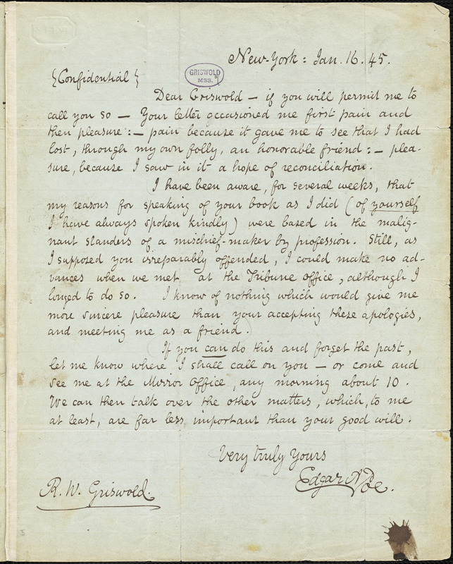Edgar Allan Poe, New York, autograph letter signed to R. W. Griswold, 16 January 1845
