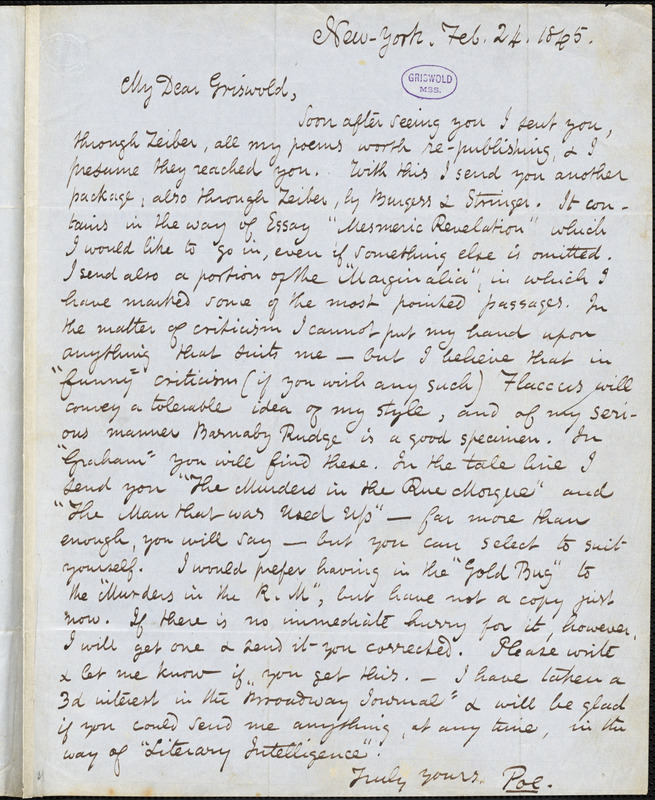 Edgar Allan Poe, New York, autograph letter signed to R. W. Griswold, 24 February 1845