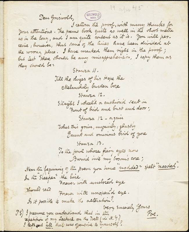 Edgar Allan Poe, New York, autograph letter signed to R. W. Griswold, 19 April 1845
