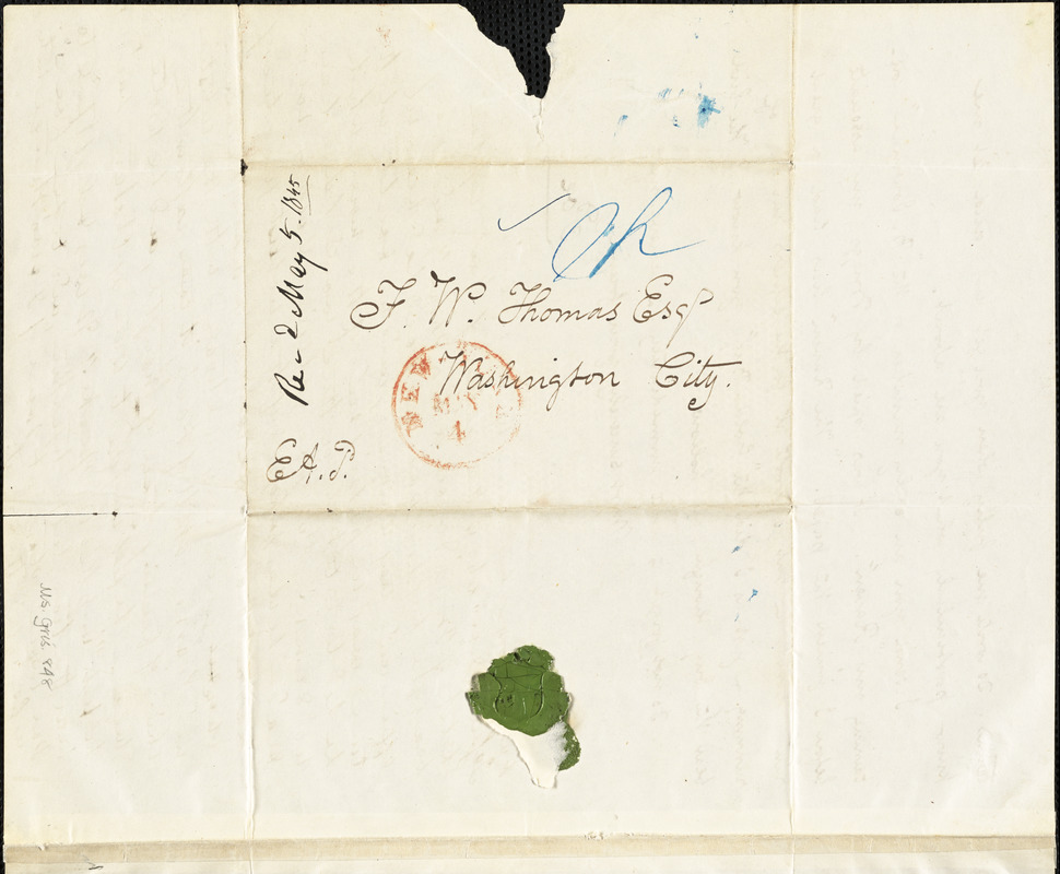 Edgar Allan Poe, Postmarked New York, autograph letter signed to Frederick W. Thomas, 4 May 1845
