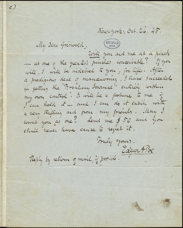 Edgar Allan Poe, New-York, autograph note signed to R. W. Griswold, 26 October 1845