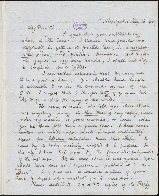 Edgar Allan Poe, New-York, autograph letter signed to Louis A. Godey, 16 July 1846