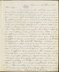 William Poe, Baltimore, MD., autograph letter signed to Edgar Allan Poe, 15 June 1843