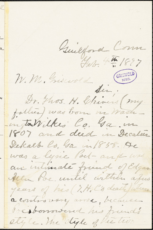 Mrs. J. C. Potter, Guilford, CT., autograph letter signed to W. M. Griswold, 4 February 1897