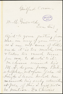 Mrs. J. C. Potter, Guilford, CT., autograph letter signed to W. M. Griswold, 18 February 1897