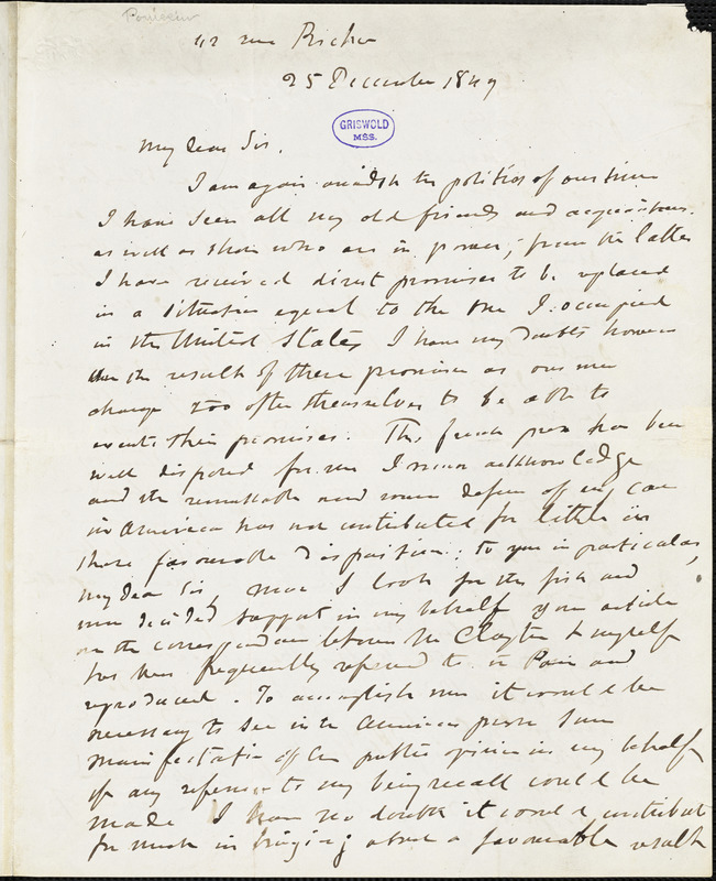 Guillaume Tell Poussin, [112 rue Bicher?], autograph letter signed, 25 December 1847