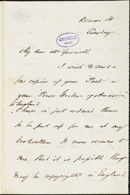 William Hickling Prescott, Beacon Street, letter signed to R. W. Griswold