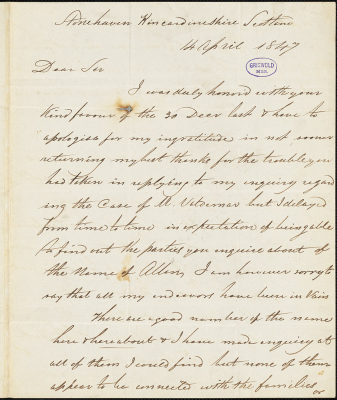 Arch Ramsay, Stonehaven, Kincardshire, Scotland., autograph letter signed to Edgar Allan Poe, 14 April 1847