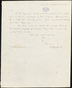 Henry Jarvis Raymond, University of Vermont, Burlington, VT., autograph note signed to R. W. Griswold, 23 December 1837