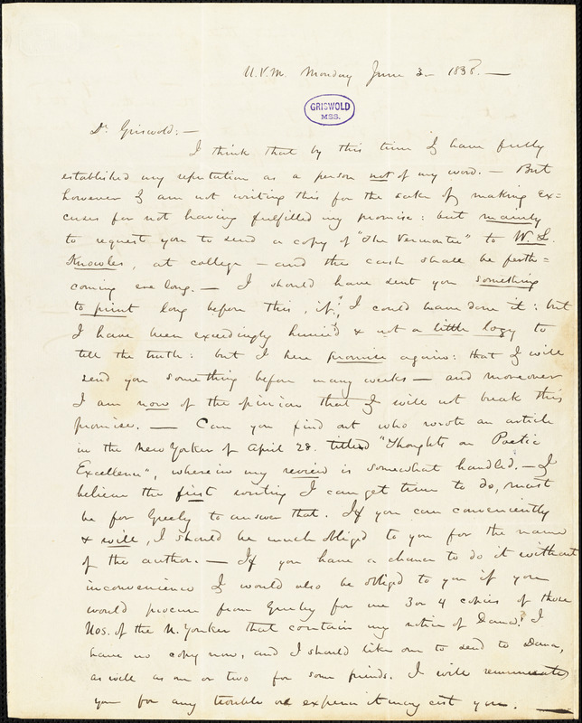Henry Jarvis Raymond, U(niversity of) V(ermont), autograph letter signed to R. W. Griswold, 3 June 1838