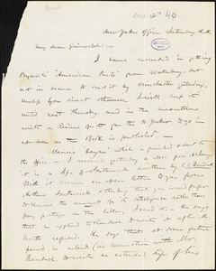 Henry Jarvis Raymond, New-Yorker Office., autograph letter signed to R. W. Griswold, [12 December(?) 1840]