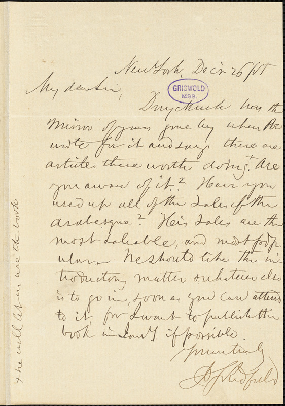 Justus Starr Redfield, [New York?]., to R. W. Griswold, 26 December 1855