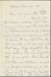 Charles Francis Richardson, Hanover, (NH), autograph letter signed to W. M. Griswold, 20 March 1896