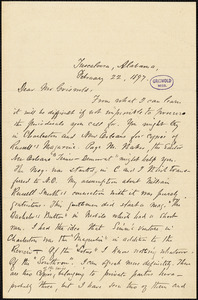 Warfield Creath Richardson, Tuscaloosa, AL., autograph letter signed to W. M. Griswold, 22 February 1897