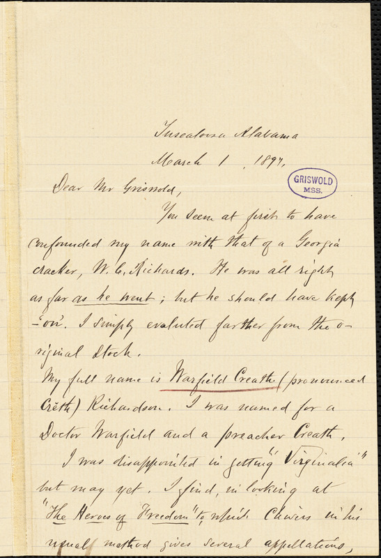Warfield Creath Richardson, Tuscaloosa, AL., autograph letter signed to W. M. Griswold, 1 March 1897