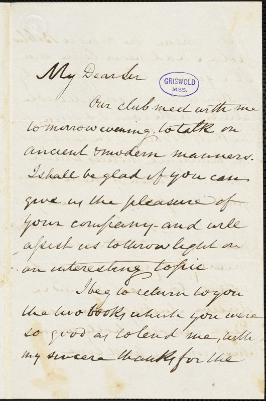 M[itchell] Ring autograph letter signed to R. W. Griswold, 10 March 1846