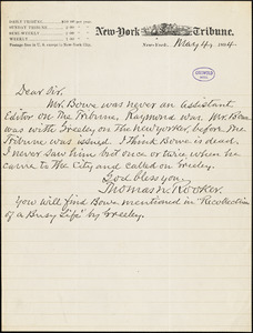 Thomas Newberry Rooker, New York Tribune, autograph letter signed, 4 May 1894