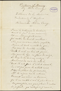 "Adrien Emmanuel Rouquette, Mandeville, LA., manuscript translation of ""Pictures of Memory,"" by Alice Cary, 1 January 1854"
