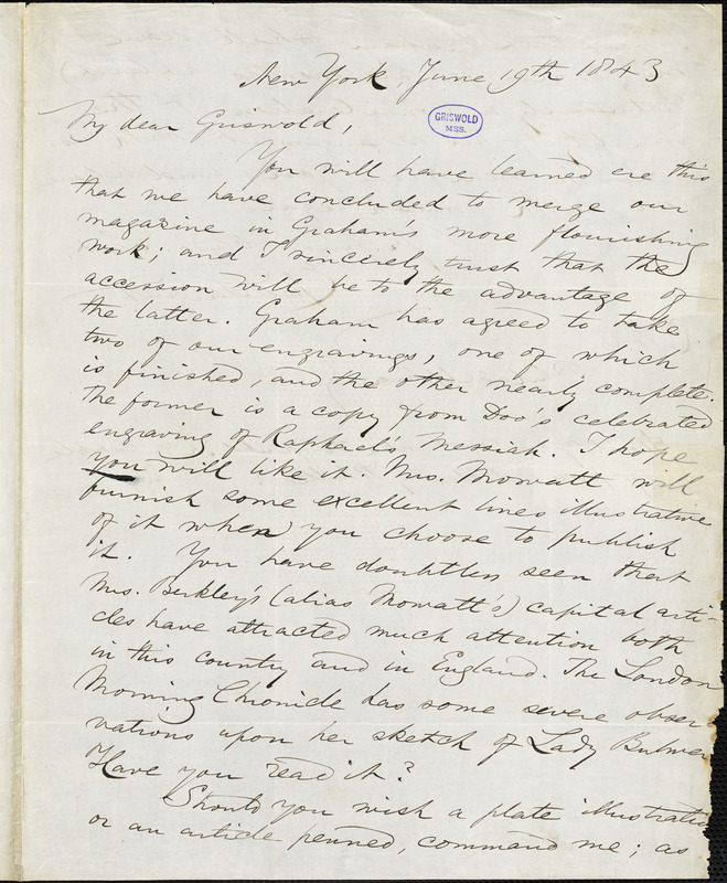 Epes Sargent, New York, autograph letter signed to R. W. Griswold, 19 June 1843