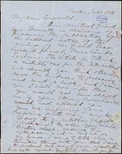 Epes Sargent, Boston, MA., autograph letter signed to R. W. Griswold, 15 September [1850?]