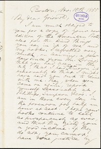 Epes Sargent, Boston, MA., autograph letter signed to R. W. Griswold, 15 November 1855