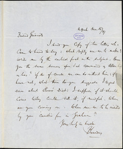 Frederick Saunders, New York, autograph letter signed to R. W. Griswold, 15 March 1847