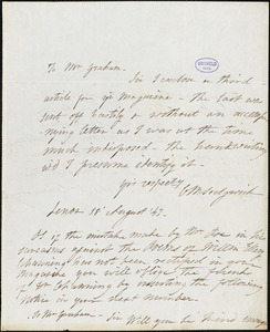 Catharine Maria Sedgwick, Lenox, (Mass), autograph letter signed to George R. Graham, 18 August 1843