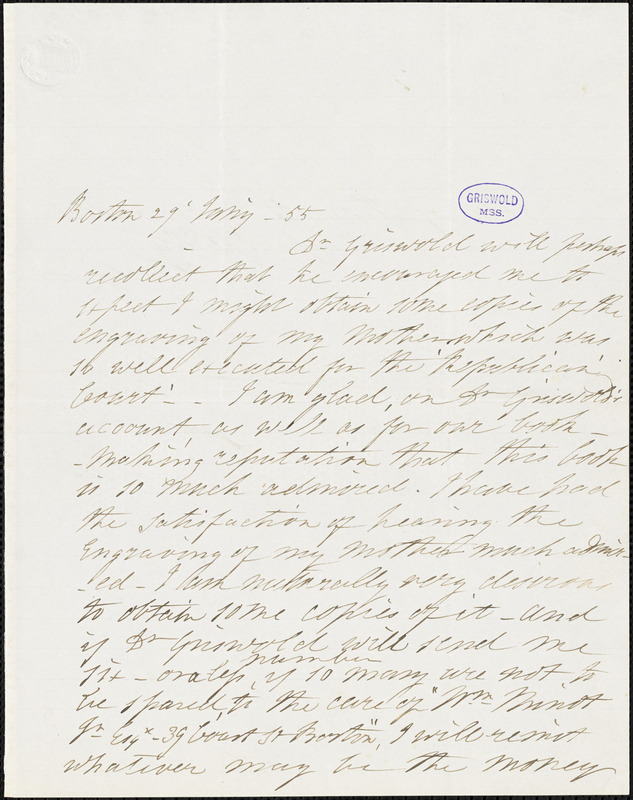 Catharine Maria Sedgwick, Boston, MA., autograph letter signed to R. W. Griswold, 29 January 1855