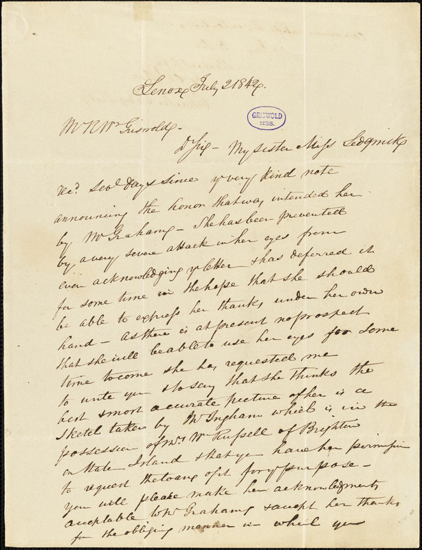 Charles Sedgwick, Lenox, (MA), autograph letter signed to R. W. Griswold, 2 July 1842