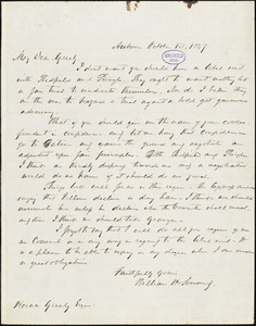 William Henry Seward, Auburn, NY., autograph letter signed to Horace Greeley, 1 October 1847