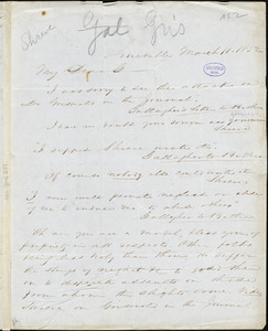 Thomas H. Shreve, Louisville, (KY), autograph letter signed to William D. Gallagher, 11 March 1852