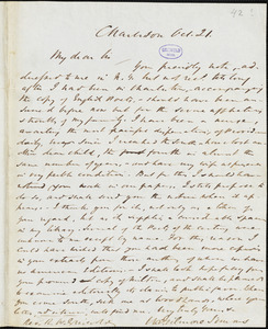 William Gilmore Simms, Charleston, (SC), autograph letter signed to R. W. Griswold, 21 October [1842?]