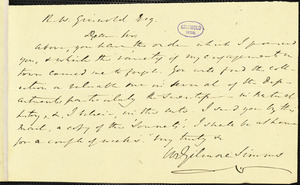 William Gilmore Simms, Midway, (SC), autograph letter signed to R. W. Griswold, 16 January 1846
