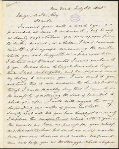 William Gilmore Simms, New York, autograph letter signed to Edgar A. Poe, 30 July 1846