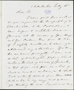 William Gilmore Simms, Charleston, (SC), autograph letter signed to R. W. Griswold, 15 July [1847?]
