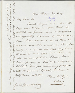 William Gilmore Simms, New York, autograph letter signed to R. W. Griswold, 29 May