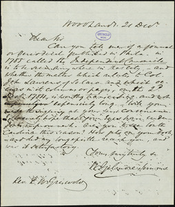 William Gilmore Simms, Woodlands, (SC), autograph letter signed to R. W. Griswold, 21 December [1847]