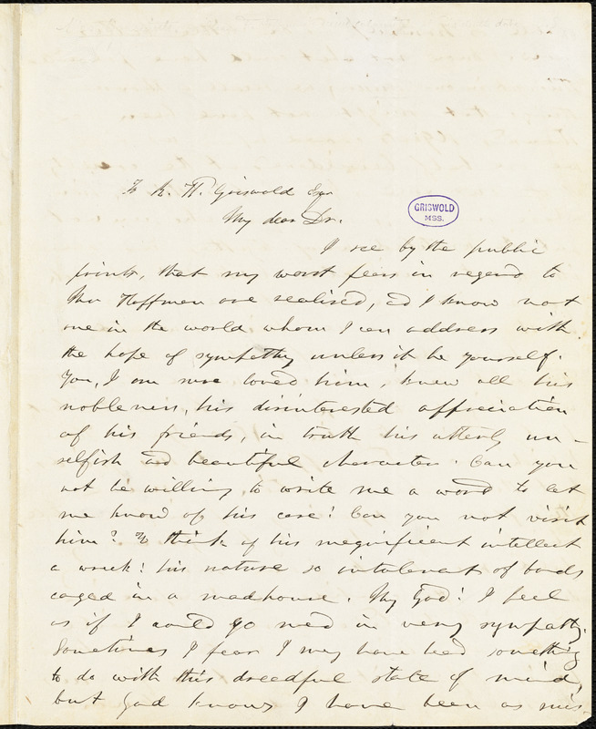 Elizabeth Oakes (Prince) Smith autograph letter signed to R. W. Griswold, [1849]