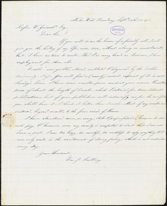 William Joseph Snelling, 60 W. Broadway, (NY), autograph letter signed to R. W. Griswold, 24 September 1841