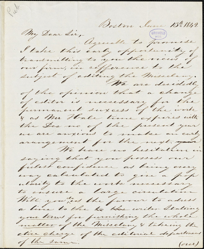 S. S. Soden, Boston, MA., autograph letter signed to R. W. Griswold, 13 June 1842